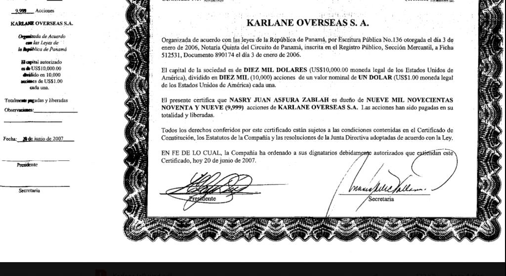 Certificado de que Nasry 'Tito' Asfura es dueño de una offshore, que hace parte de Pandora Papers