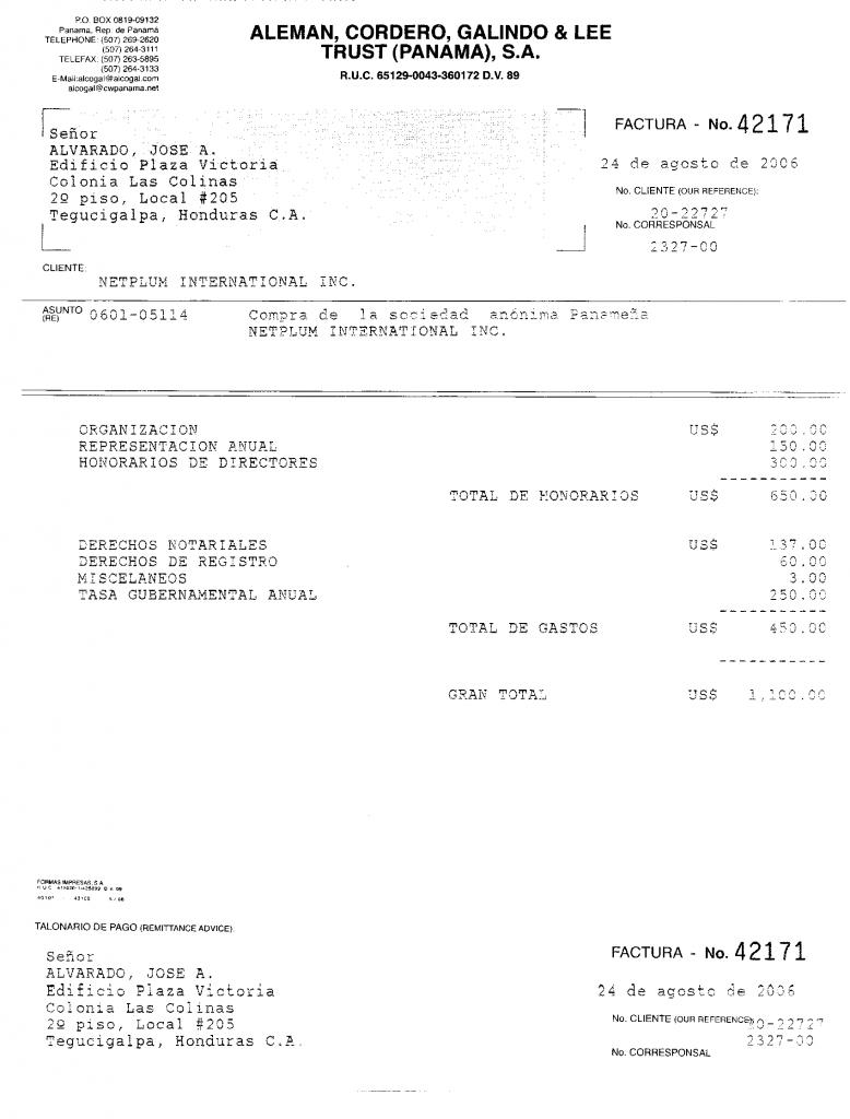 Documento remitido a funcionario de Ficohsa, revelado como parte de los Pandora Papers.