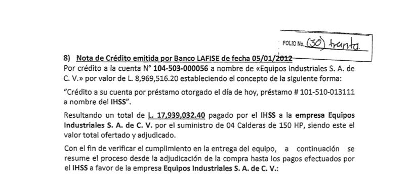 Captura del último pago a Equipos Industriales por parte del Seguro Social.