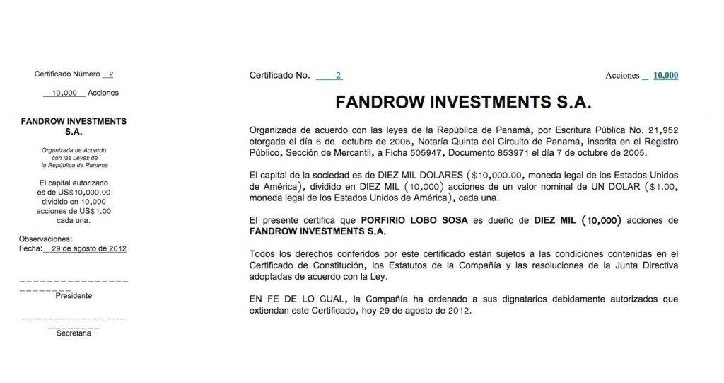 Certificado de la offshore Fandrow, de Porfirio Lobo, revelada por los Pandora Papers