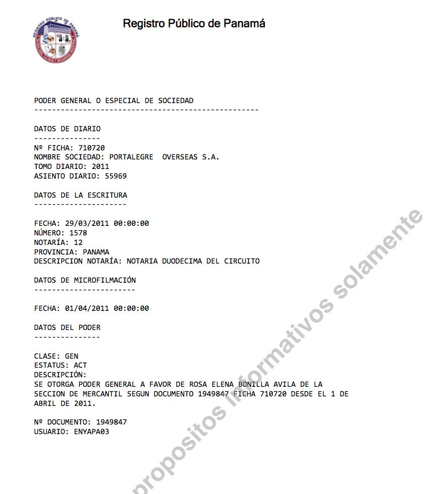 Registro mercantil en Panamá de una de las offshores de Pepe Lobo, reveladas por Pandora Papers