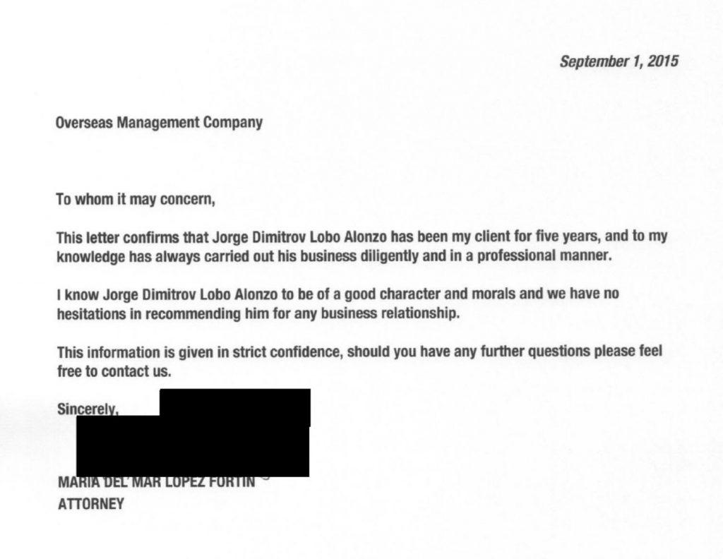 Carta de recomendación para constituir offshore de Jorge Dimitrov Lobo, hijo de Porfirio Lobo, revelada por los Pandora Papers