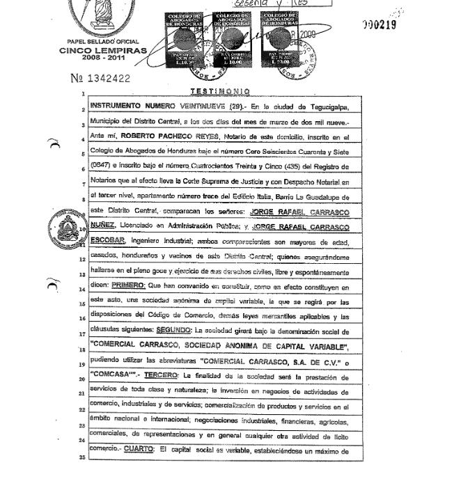 Copia de la escritura de Comercial Carrasco S.A. de C.V.